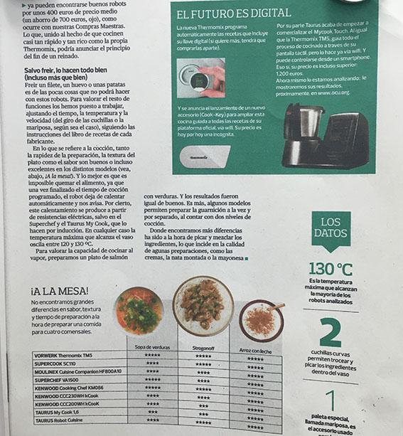 reportaje publicado en la revista de consumidores