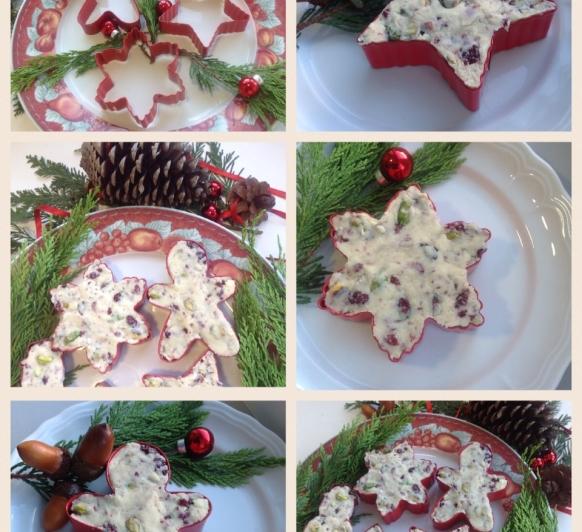 Dulces Navideños: Sturge de chocolate blanco con pistachos y arándanos.