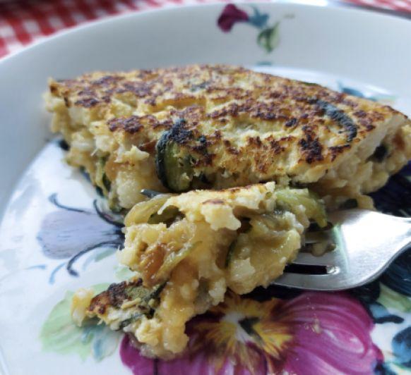 Tortilla de calabacín, brocoli o coliflor o romanescu al vapor