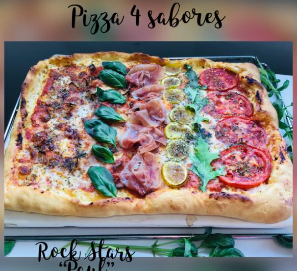 Pizza de 4 sabores con borde de queso
