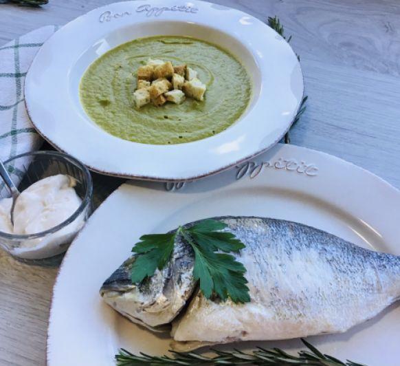 Comida ligera : Crema de verduras y pescado al vapor